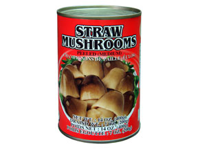 Mushrooms, straw, canned, drained solids